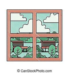 fenetres, maison, parc, vue