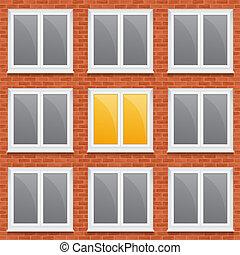 fenetres, mur, brique