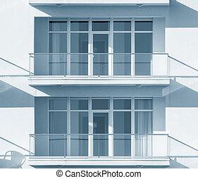 fenetres, nouveau, townhouse., balcons