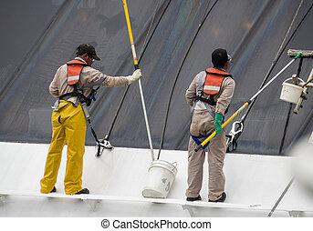 fenetres, ouvriers, nettoyage, croisière bateau