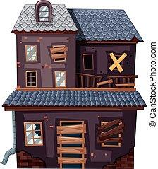 fenetres, porte, maison, brique, cassé