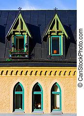fenetres, sombre, old-style, toit