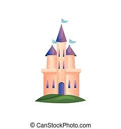 fenetres, toit, élevé, long, violet, château, princesse