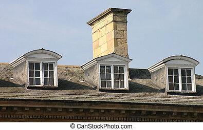 fenetres, trois, toit