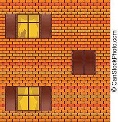 fenetres, vecteur, brickwall, seamless, texture
