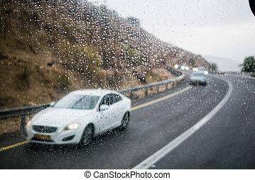 fenetres, voiture, goutte, scène, pluie, brouillé, rue, par
