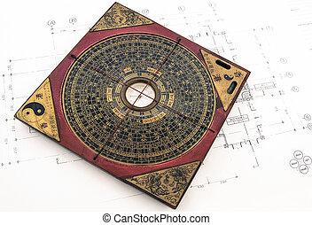 feng, 計画, shui, compas
