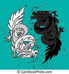 feng, dragon, oriental, chinois, shui