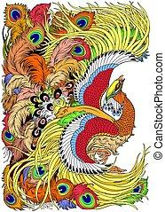 feng, mythologique, huang, oiseau