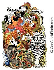 Feng shui animals symbols of good luck in Chinese mythology. Dragon, phoenix, turtle and tiger. Vector illustration