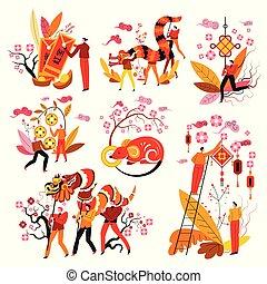 feng shui, année, chinois, zodiaque, nouveau, symboles, signe, mascottes