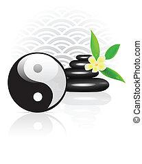 Feng Shui background with Yin Yang symbol. Vector illustration