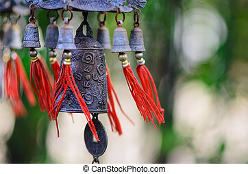 Feng Shui Chinese Bell and Coin being blown - In feng shui,...