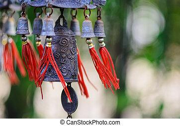 feng shui, chinesisches , glocke, und, muenze, wesen,...