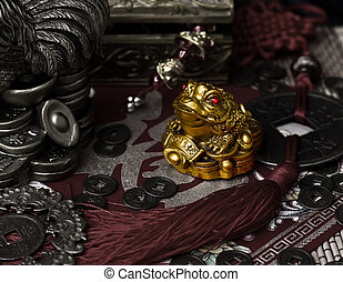 Feng Shui frog with money, old china coins