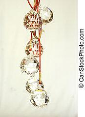 feng shui glass danglers - cut glass feng shui balls on a...