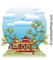 Feng Shui illustration - Tranquil illustration with pagodas,...