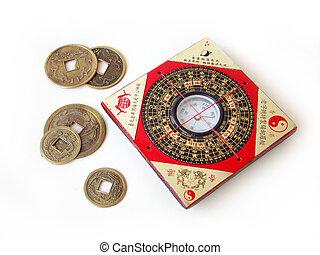 feng shui, kompaß, und, chinesisches , münzen.