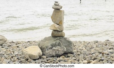 feng shui stone sculpture at lake Bodensee Germany