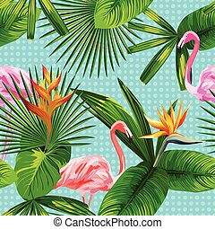 fenicottero, foglie, seamless, tropicale, fondo, fiori, circle.eps