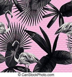 fenicottero, foglie, seamless, tropicale, sfondo nero, cerchio, bianco