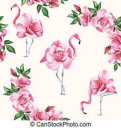 fenicottero, modello, seamless, rose, fondo, bianco