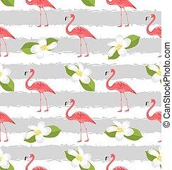 fenicottero rosa, modello, seamless, plumeria, fiori, uccelli