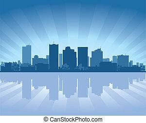 feniks, arizona, skyline, met, reflectie, in, water