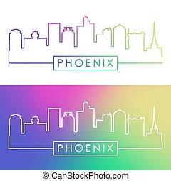 feniks, skyline., barwny, linearny, style.