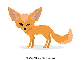 Fennec Fox Cartoon Icon in Flat Design - Fennec fox cartoon...