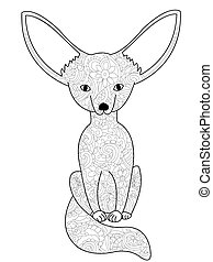 Fennec fox coloring book vector for adults