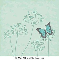 fennel flower blue - vector butterflies and herbs