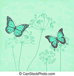 fennel flower - vector fennel flower with butterflies