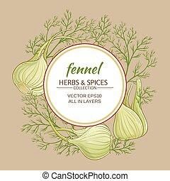 fennel vector frame - fennel plant vector frame on color...