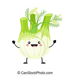 Fennel vector illustration in flat style isolated on white bac