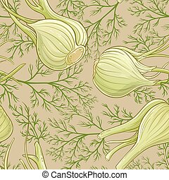 fennel vector pattern - fennel plant vector pattern on color...