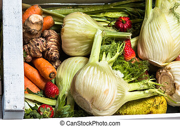 Fennels and Other Fruits and Organic Assorted Green Vegetables in White Wooden Box