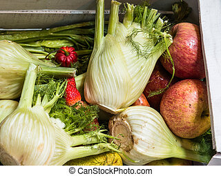 Fennels, Apples and Other Fruits and Organic Assorted Green Vegetables in White Wooden Box