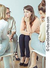 fenntartás csoport, közben, terápiai, ülésszak
