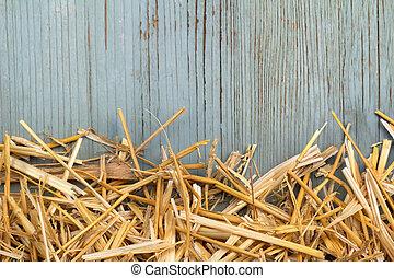 feno, contra, um, antigas, azul, parede madeira