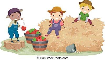 feno, crianças, stickman, maçãs