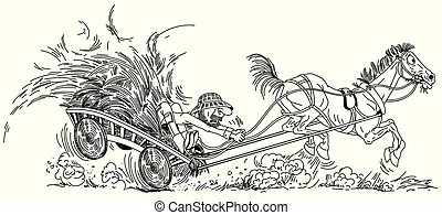 feno, esboço, carreta, agricultor