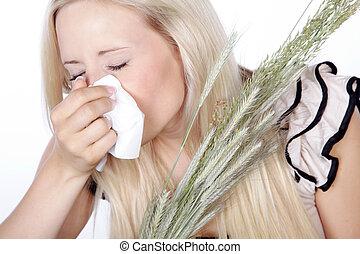 feno, espirros, mulher, febre, tem