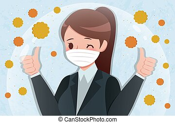 feno, mulher, caricatura, febre