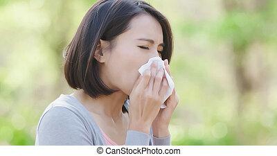 feno, mulher, febre