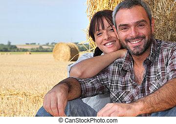 feno, par, agricultura, sentado