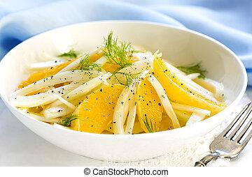fenouil, orange, salade