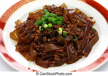 fenpi, green bean sheet jelly noodles with minced pork meat,...