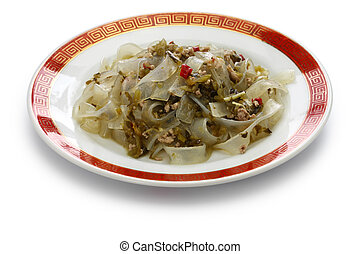 fenpi, green bean sheet jelly noodles with pickled cabbage,...