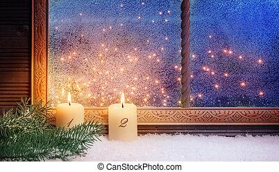 fenster, advent, dekorationen, 2.